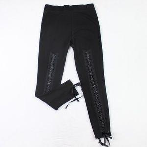 Bebe High Rise Black Leggings Back Size S Lace Up